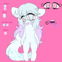 Size: 768x768 | Tagged: safe, artist:xsugarkittyx, oc, oc only, earth pony, semi-anthro, unguligrade anthro, both cutie marks, eye clipping through hair, fangs, female, reference sheet, solo