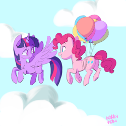 Size: 1200x1200 | Tagged: safe, artist:bokkitoki, pinkie pie, twilight sparkle, alicorn, earth pony, pony, balloon, cloud, duo, female, floating, flying, mare, then watch her balloons lift her up to the sky, twilight sparkle (alicorn), underhoof