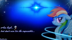 Size: 1920x1080   Tagged: safe, artist:z3bradan, rainbow dash, pegasus, my little pony: the movie, blue background, cutie mark, dark, female, inspiration, lens flare, neon, quote, simple background, smiling, solo, stars, wallpaper