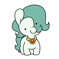 Size: 1360x1360   Tagged: safe, artist:quarantinedchaoz, oc, oc:emerald jewel, earth pony, colt quest, amulet, beady eyes, big ears, blank flank, blushing, child, color, colt, cute, femboy, foal, hair over one eye, happy, head tilt, hnnng, jewelry, male, smiling, solo, trap