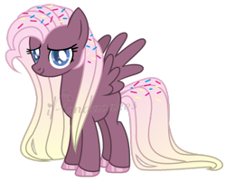 Size: 849x683 | Tagged: safe, artist:ipandacakes, oc, pegasus, pony, base used, female, food, gradient mane, magical lesbian spawn, mare, offspring, parent:fluttershy, parent:pinkie pie, parents:flutterpie, simple background, solo, sprinkles, transparent background, watermark