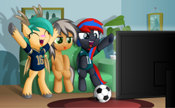 Size: 800x492 | Tagged: safe, artist:jhayarr23, oc, oc only, oc:deliriam, oc:smooth walker, oc:turquoise droplet, pony, :p, ball, bipedal, cheering, clothes, couch, football, shirt, sitting, sports, television, tongue out, unshorn fetlocks