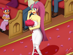 Size: 2000x1500 | Tagged: safe, artist:drake-rex, sour sweet, human, equestria girls, body freckles, breasts, bride, church, clothes, commission, crying, cute, dress, flower, freckles, marriage, sourbetes, tears of joy, wedding, wedding dress