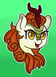 Size: 565x782 | Tagged: safe, artist:handgunboi, autumn blaze, kirin, bust, female, gradient background, green background, mare, open mouth, portrait, simple background, solo