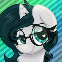 Size: 1772x1772 | Tagged: safe, artist:littleblackraencloud, oc, oc only, oc:invictus europa, pony, unicorn, bust, chest fluff, female, glasses, heart eyes, mare, neck fluff, nerd, portrait, solo, wingding eyes