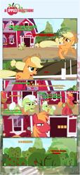 Size: 1919x4225 | Tagged: safe, artist:estories, applejack, big macintosh, granny smith, earth pony, pony, comic:a(pple)ffection, apple, apple tree, comic, food, implied gay, sweet apple acres, tree