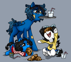 Size: 900x780 | Tagged: artist needed, safe, oc, oc:horror vacui, pegasus, colt, cookie, drink, female, filly, food, happy, male, ponysona, tray