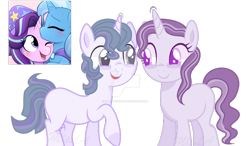 Size: 1024x598 | Tagged: safe, artist:mlploveartyt, starlight glimmer, trixie, oc, female, lesbian, magical lesbian spawn, offspring, parent:starlight glimmer, parent:trixie, parents:startrix, shipping, startrix