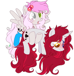Size: 494x507 | Tagged: safe, artist:2pandita, oc, oc only, oc:pandita, pegasus, pony, unicorn, clothes, female, heterochromia, holding a pony, mare, pixel art, simple background, socks, transparent background, watermark
