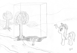Size: 700x484 | Tagged: safe, artist:quint-t-w, applejack, earth pony, pony, applejack's hat, confused, cowboy hat, empty space, exclamation point, hat, interrobang, old art, pencil drawing, question mark, sign, solo, traditional art, tree