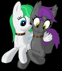 Size: 1044x1200 | Tagged: safe, artist:stillsings, oc, oc:opal, oc:zephyr, bat pony, pegasus, pony, collar, cute, fanfic art, female, hug, mare, pet, pony pet, sad, simple background, transparent background, winghug