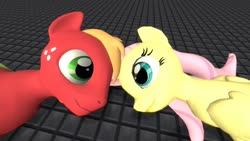 Size: 1920x1080 | Tagged: safe, artist:hectorlongshot, big macintosh, fluttershy, earth pony, pegasus, pony, 3d, female, fluttermac, freckles, looking at each other, lying down, male, mare, missing accessory, shipping, stallion, straight