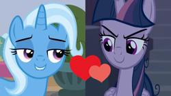 Size: 1540x864 | Tagged: safe, mean twilight sparkle, trixie, a horse shoe-in, the mean 6, spoiler:s09e20, female, lesbian, mean twixie, shipping, shipping domino, twixie