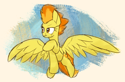 Size: 1780x1175 | Tagged: safe, artist:litrojia, spitfire, pegasus, pony, 30 minute art challenge, abstract background, female, flying, mare, sketchy, solo, spread wings, wings