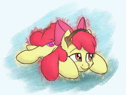Size: 1150x875 | Tagged: safe, artist:litrojia, apple bloom, earth pony, pony, abstract background, adorabloom, cute, female, filly, headphones, lying down, prone, sketchy, smiling, solo