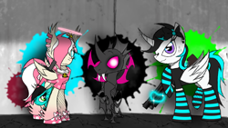 Size: 1280x720 | Tagged: safe, alternate version, artist:didun850, oc, oc only, oc:chilling, oc:dull, oc:feather breeze, oc:hydro rose, alicorn, changeling, changepony, hybrid, pegasus, pony, alicorn oc, clothes, curved horn, disguise, disguised changeling, duality, ear piercing, earring, fangs, female, freckles, glowing horn, gun, hair over eyes, halo, horn, jewelry, magic, mare, piercing, pink changeling, raised hoof, signature, socks, solo, striped socks, telekinesis, weapon
