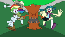 Size: 1920x1092 | Tagged: safe, artist:bugssonicx, juniper montage, rainbow dash, human, equestria girls, belt, boots, caught, clothes, forest, glasses, hat, haunted, miniskirt, monster, pigtails, pith helmet, running, running in place, scared, shoes, skirt, skirt pull, socks, tree