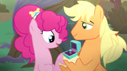 Size: 1024x576   Tagged: safe, artist:missxxfofa123, applejack, pinkie pie, pony, alternate hairstyle, applejack (male), applepie, applepie (straight), base used, engagement ring, female, half r63 shipping, intertwined trees, male, ring box, rule 63, shipping, straight, tree
