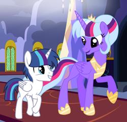 Size: 912x876   Tagged: safe, artist:missxxfofa123, oc, oc only, alicorn, pony, alicorn oc, base used, colt, cousins, crown, duo, female, jewelry, magical lesbian spawn, male, mare, offspring, parent:princess cadance, parent:shining armor, parent:trixie, parent:twilight sparkle, parents:shiningcadance, parents:twixie, princess shoes, regalia