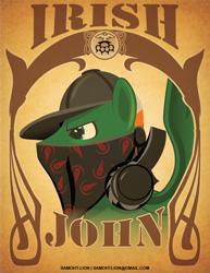 Size: 612x792 | Tagged: safe, artist:samoht-lion, oc, oc only, oc:irish john, pegasus, pony, bandana, baseball cap, bust, cap, frown, hat, headphones, male, solo, stallion, text