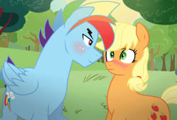 Size: 1024x698 | Tagged: safe, artist:missxxfofa123, applejack, rainbow dash, earth pony, pegasus, pony, appleblitz (straight), appledash, base used, blushing, eye contact, female, half r63 shipping, looking at each other, male, mare, outdoors, rainbow blitz, rule 63, shipping, stallion, straight