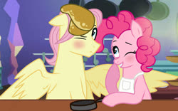 Size: 1024x637 | Tagged: safe, artist:missxxfofa123, fluttershy, pinkie pie, apron, base used, blushing, butterpie, butterscotch, clothes, female, flutterpie, food, frying pan, half r63 shipping, male, one eye closed, pancakes, rule 63, shipping, straight