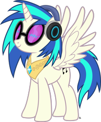 Size: 1955x2365 | Tagged: safe, artist:anime-equestria, dj pon-3, vinyl scratch, alicorn, pony, alicornified, female, gem, headphones, horn, jewelry, princess, race swap, regalia, simple background, solo, sunglasses, transparent background, vector, vinyl's glasses, vinylcorn, wings