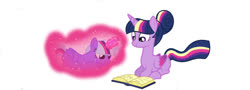 Size: 1024x370   Tagged: safe, artist:missxxfofa123, twilight sparkle, oc, alicorn, pony, alicorn oc, alternate hairstyle, base used, blank flank, book, colored wings, female, gradient wings, hair bun, levitation, magic, magical lesbian spawn, missing cutie mark, mother and child, mother and daughter, offspring, parent:trixie, parent:twilight sparkle, parents:twixie, rainbow power, reading, self-levitation, simple background, telekinesis, twilight sparkle (alicorn), white background, wings