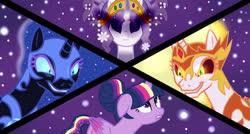 Size: 1024x547 | Tagged: safe, artist:missxxfofa123, daybreaker, nightmare moon, tree of harmony, twilight sparkle, oc, oc:harmony (heilos), alicorn, classical unicorn, pony, unicorn, alternate hairstyle, base used, cloven hooves, colored wings, corrupted, dark magic, female, gradient wings, hair bun, leonine tail, magic, mare, rainbow power, twilight sparkle (alicorn), unshorn fetlocks, wings