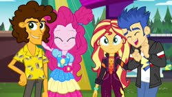 Size: 1280x720 | Tagged: safe, artist:3d4d, cheese sandwich, flash sentry, pinkie pie, sunset shimmer, equestria girls, equestria girls series, sunset's backstage pass!, spoiler:eqg series (season 2), cheesepie, female, flashimmer, male, shipping, straight