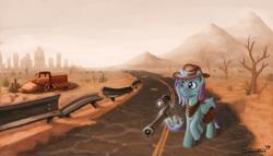 Size: 1600x912   Tagged: safe, artist:sa1ntmax, oc, oc:dashy vandash, alicorn, pony, alicorn oc, cowboy hat, desert, fallout, gun, hat, magic, rifle, sniper rifle, solo, telekinesis, wasteland, weapon