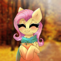 Size: 2500x2500 | Tagged: safe, artist:confetticakez, fluttershy, pegasus, pony, autumn, blushing, cheek fluff, chest fluff, clothes, cute, eyes closed, pumpkin, scarf, shyabetes, smiling, solo, weapons-grade cute