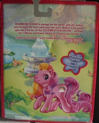 Size: 1192x1480 | Tagged: safe, rainbow flash, backcard, backcard story, flower, fountain, g3, implied amberlocks, lilypad, official, super long hair pony, text