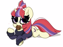 Size: 4096x3072   Tagged: safe, artist:kittyrosie, moondancer, unicorn, blushing, clothes, cookie, cute, dancerbetes, female, food, glasses, looking at you, mare, mouth hold, simple background, sweater, white background