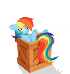 Size: 1280x1341 | Tagged: safe, artist:shiny-dust, rainbow dash, pegasus, pony, box, crate, floppy ears, grumpy, grumpy dash, if i fits i sits, pony in a box, rainbow dash is not amused, simple background, solo, unamused, white background