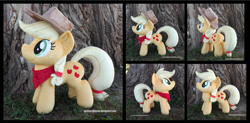 Size: 3570x1754 | Tagged: safe, artist:peruserofpieces, applejack, earth pony, applejack's hat, bandana, cowboy hat, female, hat, irl, mare, photo, plushie, smiling, tree