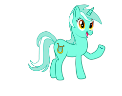 Size: 2149x1696 | Tagged: safe, artist:almaustral, lyra heartstrings, pony, unicorn, female, mare, open mouth, raised hoof, simple background, smiling, solo, transparent background, waving
