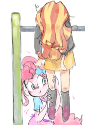 Size: 1200x1758 | Tagged: safe, artist:nendo, pinkie pie, sunset shimmer, equestria girls, messy hair, tired