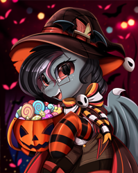 Size: 2550x3209 | Tagged: safe, artist:pridark, part of a set, oc, oc only, bat pony, pony, basket, bat pony oc, bat wings, candy, clothes, commission, food, glasses, halloween, hat, holiday, jack-o-lantern, open mouth, pumpkin, pumpkin bucket, socks, solo, striped socks, wings, witch hat, ych result
