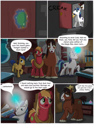 Size: 1300x1712 | Tagged: safe, big macintosh, flash sentry, shining armor, trouble shoes, clydesdale, earth pony, pegasus, pony, unicorn, comic:the birth of speedy hooves, basement, book, comic, commissioner:bigonionbean, cutie mark, dialogue, door, dresser, flashback, fusion, hat, laboratory, magic, male, potion, stallion, underground, writer:bigonionbean