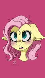 Size: 698x1200   Tagged: safe, artist:pandacakeparty, fluttershy, pony, blushing, bust, ear fluff, ear freckles, ear piercing, female, floppy ears, freckles, gap teeth, heart eyes, looking at you, mare, open mouth, piercing, pink background, portrait, simple background, solo, stray strand, three quarter view, wingding eyes