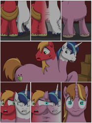 Size: 1000x1340 | Tagged: safe, big macintosh, shining armor, oc, oc:home defence, earth pony, pony, unicorn, comic:the birth of speedy hooves, butt, comic, commissioner:bigonionbean, confused, dat ass was fat, extra thicc, flank, flashback, fuse, fusion, fusion:home defence, male, merge, merging, plot, shocked, stallion, thicc ass, wide hips, writer:bigonionbean