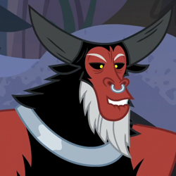 Size: 554x553 | Tagged: safe, screencap, lord tirek, centaur, frenemies (episode), arms, chestplate, fur, horns, nose piercing, nose ring, piercing, shoulders, solo, weird face