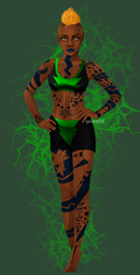 Size: 2000x3912 | Tagged: safe, alternate version, artist:brokat8, lightning dust, human, abs, alternate hairstyle, barefoot, belly button, clothes, dark skin, elf ears, feet, female, green background, humanized, lipstick, shorts, simple background, solo, sports bra, sports shorts, tattoo