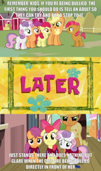 Size: 2000x3375 | Tagged: safe, edit, edited screencap, screencap, apple bloom, applejack, babs seed, scootaloo, sweetie belle, earth pony, pegasus, pony, unicorn, one bad apple, angry, applejack's hat, cape, caption, clothes, cmc cape, comic, cowboy hat, cutie mark crusaders, female, filly, friendship express, glare, hat, image macro, impact font, later, mare, meme, pouting, sad, screencap comic, smiling, spongebob time card, sweet apple acres, text, train, train station
