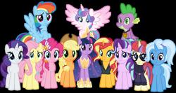 Size: 1024x543 | Tagged: safe, artist:emeraldblast63, applejack, fluttershy, moondancer, pinkie pie, princess flurry heart, rainbow dash, rarity, spike, starlight glimmer, sunset shimmer, trixie, twilight sparkle, alicorn, dragon, mlp fim's tenth anniversary, the last problem, alternate hairstyle, anniversary, cute, flurrybetes, happy birthday mlp:fim, mane seven, mane six, older, older flurry heart, older spike, older twilight, simple background, transparent background, twilight sparkle (alicorn), ultimate twilight, winged spike