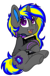 Size: 779x1188   Tagged: safe, artist:rokosmith26, oc, oc only, oc:rapid shadow, pony, unicorn, book, clothes, colored pupils, cute, cutie mark, ear fluff, fangs, flower, happy, hoodie, horn, hug, looking at you, male, open mouth, scarf, simple background, sitting, smiling, solo, teeth, transparent background, underhoof