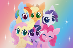 Size: 4000x2674 | Tagged: safe, artist:belka-sempai, applejack, fluttershy, pinkie pie, rainbow dash, rarity, twilight sparkle, alicorn, earth pony, pegasus, pony, unicorn, mlp fim's tenth anniversary, abstract background, anniversary, bust, chest fluff, colored pupils, cowboy hat, cute, elbow fluff, eyes closed, female, folded wings, group hug, happy anniversary, happy birthday mlp:fim, hat, high res, hug, mane six, mare, profile, rainbow background, smiling, sparkles, twilight sparkle (alicorn), wings