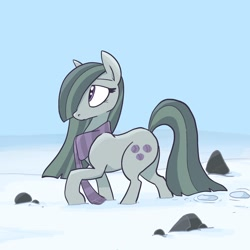 Size: 2048x2048 | Tagged: safe, artist:pfeffaroo, marble pie, earth pony, pony, clothes, female, hair over one eye, high res, looking away, looking up, mare, outdoors, profile, raised hoof, rock, rock farm, scarf, snow, solo, winter