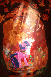 Size: 2560x3840 | Tagged: safe, artist:zvn, twilight sparkle, alicorn, pony, autumn, clothes, crepuscular rays, falling leaves, female, fence, forest, leaves, looking at you, looking back, looking back at you, mare, profile, scarf, scenery, smiling at you, solo, tree, twilight sparkle (alicorn)